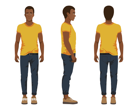 Vector illustration of three black men in casual clothes under the white background. Cartoon realistic people illustartion. Flat young man. Front view man, Side view man, Back side view man