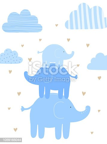 istock Vector illustration of three blue elephants among the clouds and hearts. Image for boys. Holiday concept, baby shower, birthday, wrappers, print, clothes, cards, banner, textile, flyer. 1059165044