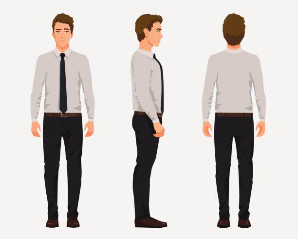 vector illustration of three business men in official clothes. cartoon realistic people illustartion.worker in a shirt with a tie.front view man,side view man,back side view man - ludzka kończyna stock illustrations