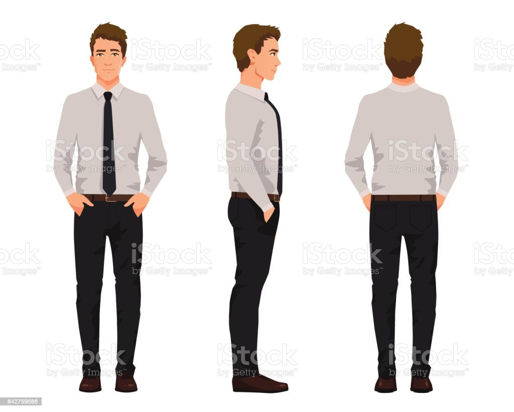 Vector illustration of three business men with hands in pockets, in official clothes. Cartoon realistic people illustartion.Worker in a shirt with a tie.Front view man,Side view man,Back side view man vector art illustration