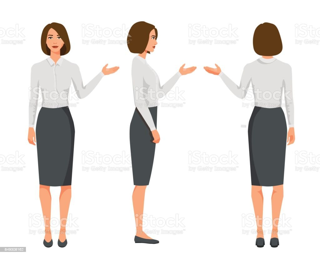 Vector illustration of three business woman in official clothes.Question pose.Presentation pose.Cartoon realistic people.Flat young woman.Front view girl,Side view girl,Back side of girl vector art illustration