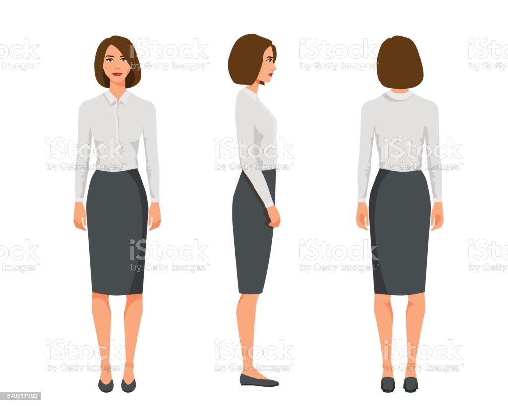 Illustration Vectorielle De Trois Femme Daffaires Aux Cheveux Courts