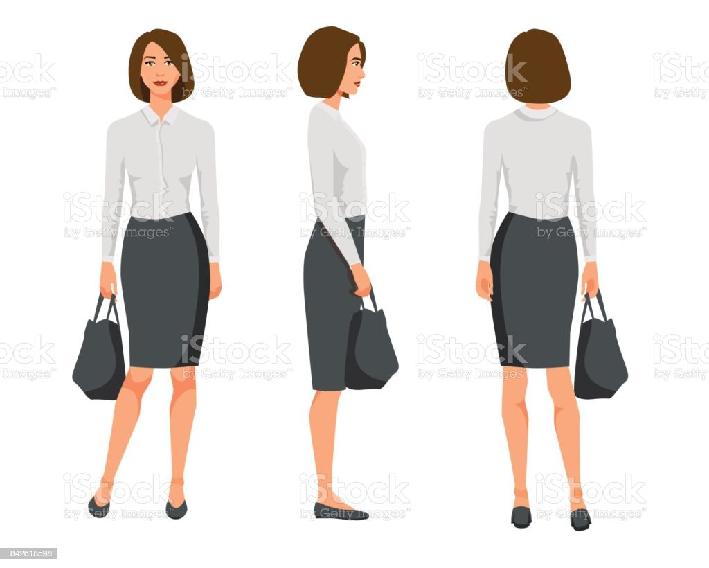 Vector illustration of three business woman with short hair in official clothes with bag.Cartoon realistic people illustration.Flat young womanwith bag.Front view girl,Side view girl,Back side of girl vector art illustration