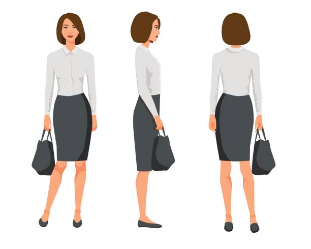 Illustration vectorielle de trois femme d'affaires aux cheveux courts dans des vêtements officiels avec le sac. Illustration de dessin animé de gens réaliste. Sac plat jeune womanwith. Jeune fille vue de face, fille de vue latérale, côté dos de la jeune fille - Illustration vectorielle