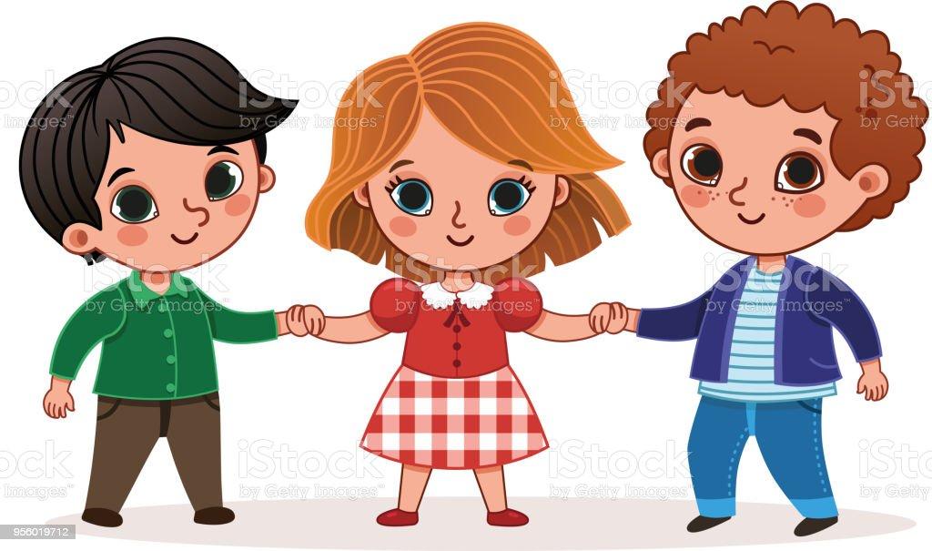 Ilustración De Ilustración Vectorial De Tres Niños Tomados De La
