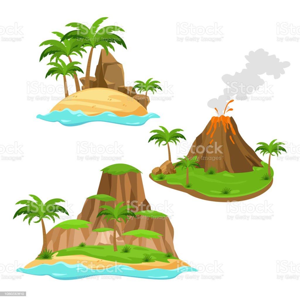 Illustration Vectorielle De Trois îles Différentes Sur Fond Blanc