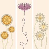 A collection of delicate flower banners - including a woman practicing yoga inside a lotus. (Includes .jpg)
