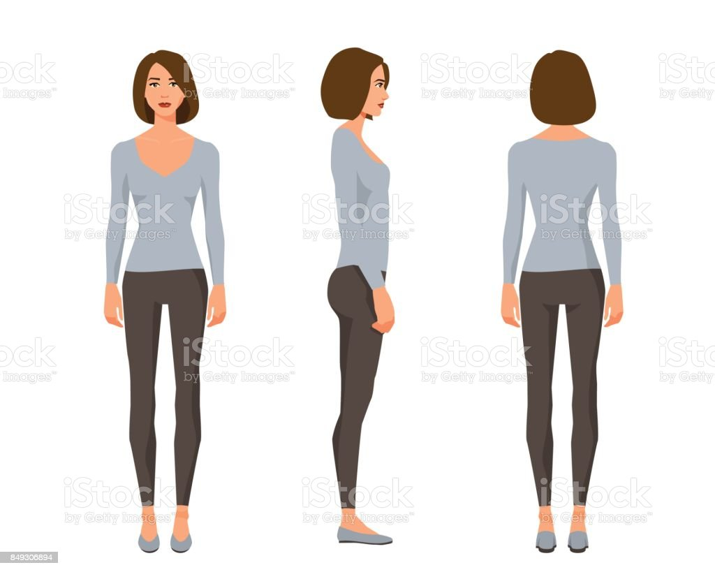 Vector illustration of three girl with shirt hair in casual clothes under the white background.Cartoon realistic people illustration.Flat young woman.Front view girl,Side view girl,Back side view girl vector art illustration