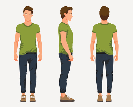 Vector illustration of three men in casual clothes under the white background. Cartoon realistic people illustartion. Flat young man. Front view man, Side view man, Back side view man