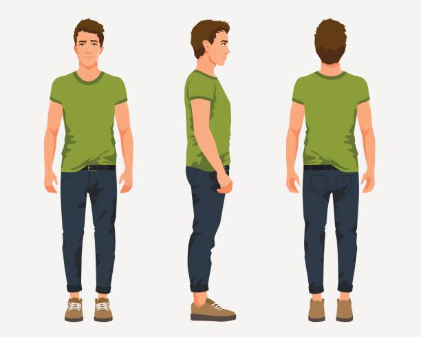 vector illustration of three men in casual clothes under the white background. cartoon realistic people illustartion. flat young man. front view man, side view man, back side view man - standing stock illustrations