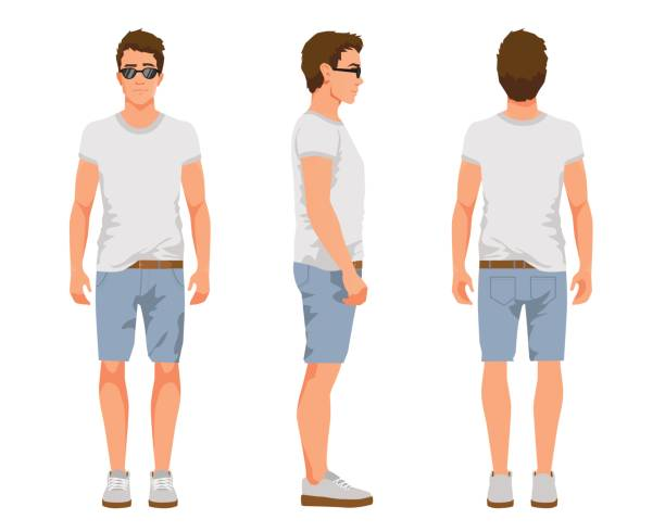 illustrazioni stock, clip art, cartoni animati e icone di tendenza di vector illustration of three men in casual summer clothes. cartoon realistic people illustartion.flat young man in a light t-shirt, denim shorts and sneakers. front view, side view, back side view man - bello