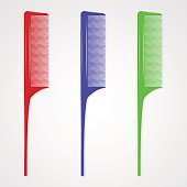 Vector illustration of three plastic hair combs with a tendrill