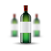 Vector illustration of three realistic green glass wine bottles mock up on white background. Front bottle sharp and two out of depth of field
