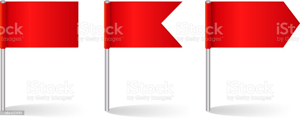 Vector illustration of three red flag options vector art illustration