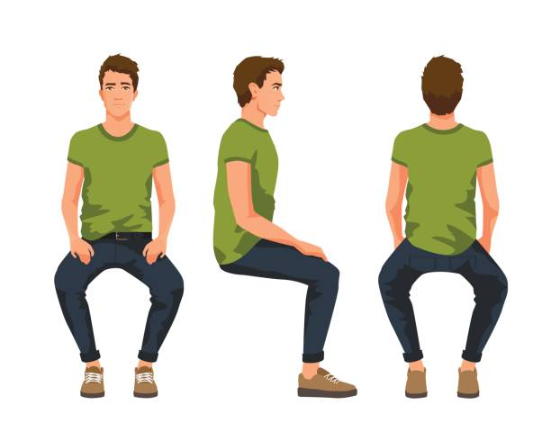 vector illustration of three sitting men in casual clothes under the white background. cartoon realistic people - siedzieć stock illustrations