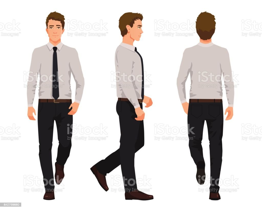 Vector illustration of three walking business men in for Start an online t shirt business at zero cost