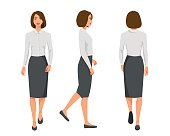 Vector illustration of three walking business woman  in official clothes. Cartoon realistic people illustartion.Flat young woman.Front view girl,Side view girl,Back side of girl