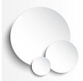 Vector illustration of three white paper circles notes. Empty label round sticker, tag. Blank templates of a price tags. Mockup for your business presentation. Abstract background.