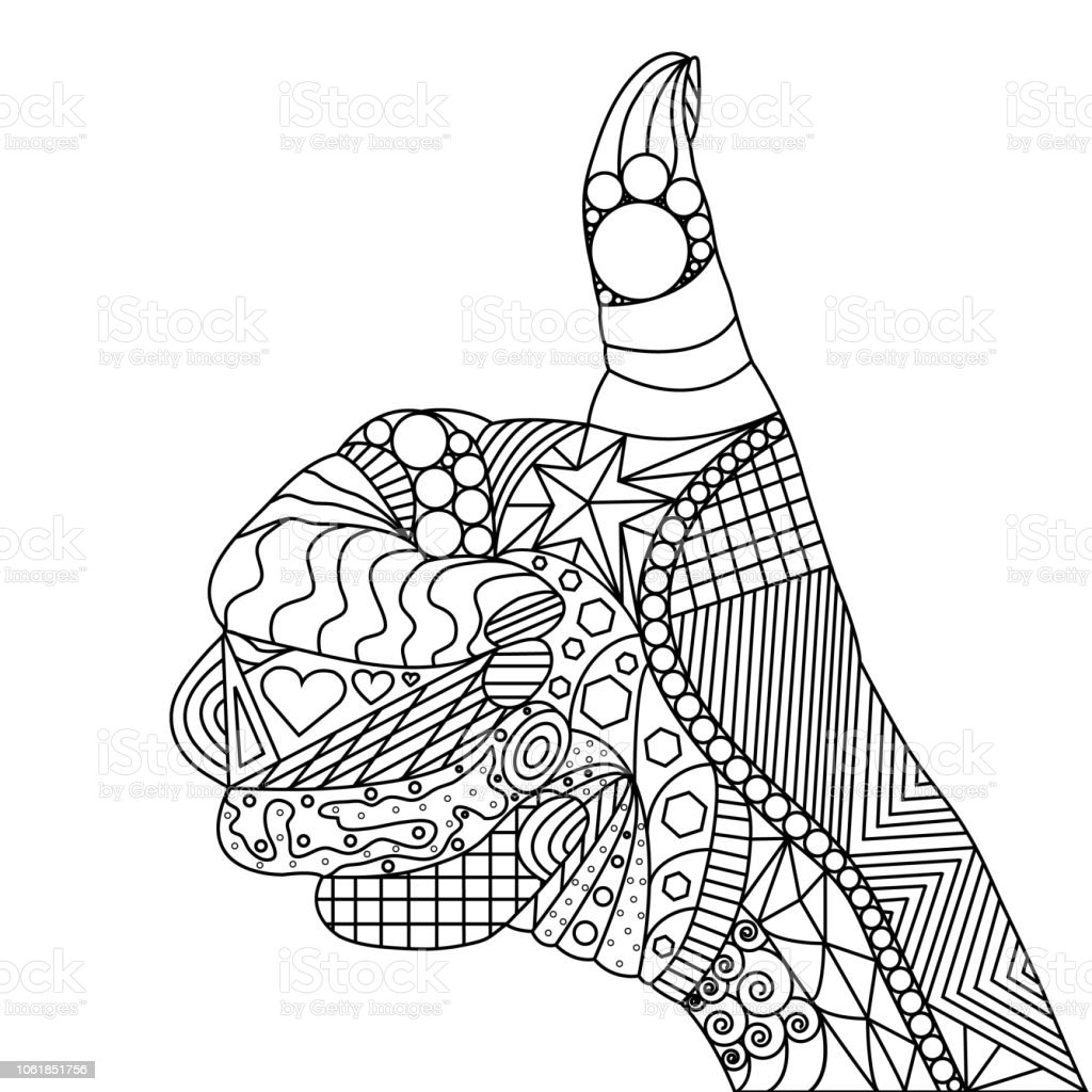 Ilustración de vector de pulgares para arriba con Doodle elementos - ilustración de arte vectorial