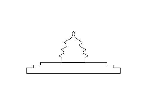 Vector Illustration of Tiantan Architectural Contour in Beijing, China