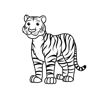 Vector illustration of tiger isolated on white background. For kids coloring book.