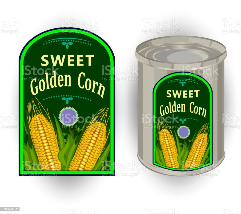 vector illustration of tin can with a label for canned sweet corn