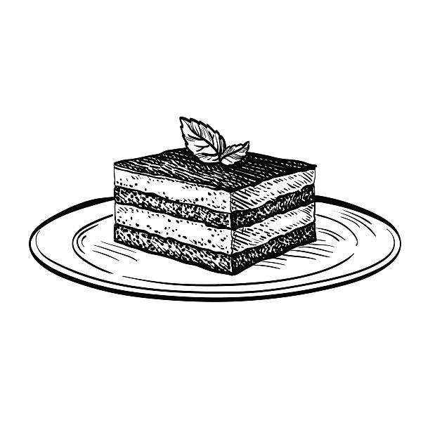 vector illustration of tiramisu - tiramisu stock-grafiken, -clipart, -cartoons und -symbole