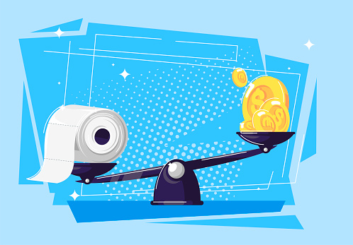 Vector illustration of toilet paper and gold coins lying on the scales, toilet paper is more expensive than gold