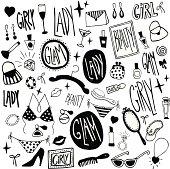 "A pattern of vector icons made up of things that are related to women's fashion, toiletry and beauty products.  These icons are all in black and white and form a constant pattern.  The words ""girly,"" ""lady,"" ""glam"" and ""beauty"" are shown multiple times in stylized fonts.  There are icons including hearts, earrings, wine glasses, martini glasses, bracelets, clothes hangers, brushes, combs, mirrors, different types of perfume bottles, diamond rings, sunglasses, necklaces, shoes, ribbons, bathing suits, lips, lipstick, stars, nail polish, sale tags, handbags, clutches and bows scattered throughout the pattern."