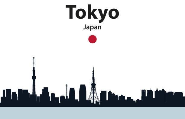 東京市街並みのシルエットベクトルイラスト - 東京点のイラスト素材/クリップアート素材/マンガ素材/アイコン素材
