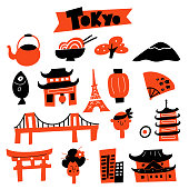 Vector illustration of Tokyo symbols and attractions.