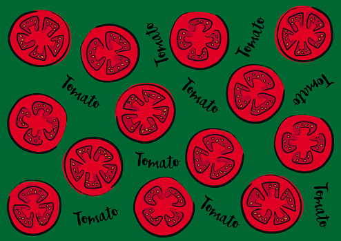 """Vector illustration of tomatoes on a green background and calligraphic inscription """"Tomato"""""""