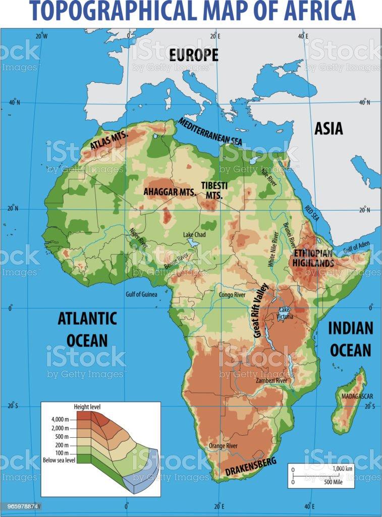 Vectorillustratie van topografische kaart van Afrika - Royalty-free Abstract vectorkunst