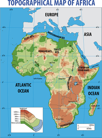 Vectorillustratie Van Topografische Kaart Van Afrika Stockvectorkunst en meer beelden van Abstract