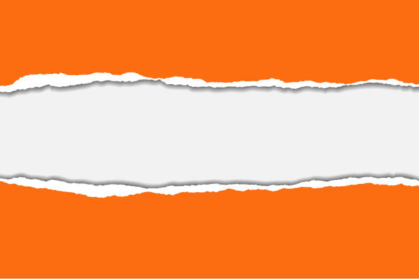 Vector illustration of torn orange paper with blue background isolated on white background suitable for text insertion vector art illustration