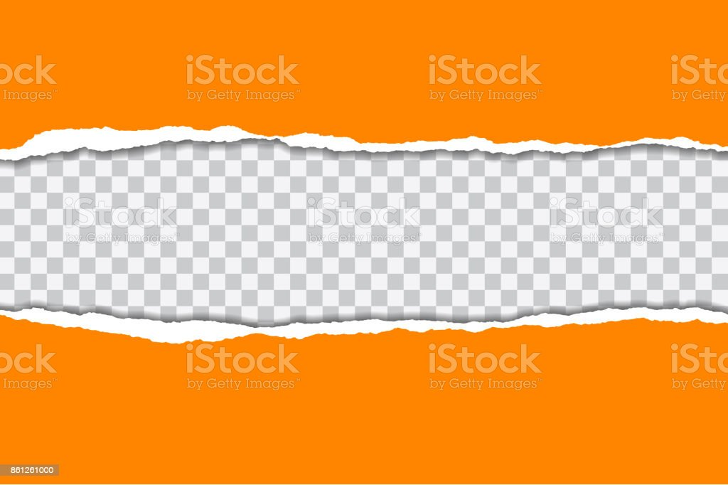 Vector illustration of torn orange paper with transparent background isolated on white background suitable for text insertion vector art illustration