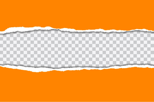 Vector illustration of torn orange paper with transparent background isolated on white background suitable for text insertion Vector illustration of torn orange paper with transparent background isolated on white background suitable for text insertion cut or torn paper stock illustrations
