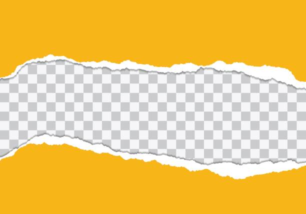 Vector illustration of torn yellow paper with Transparent background isolated on white background suitable for text insertion vector art illustration