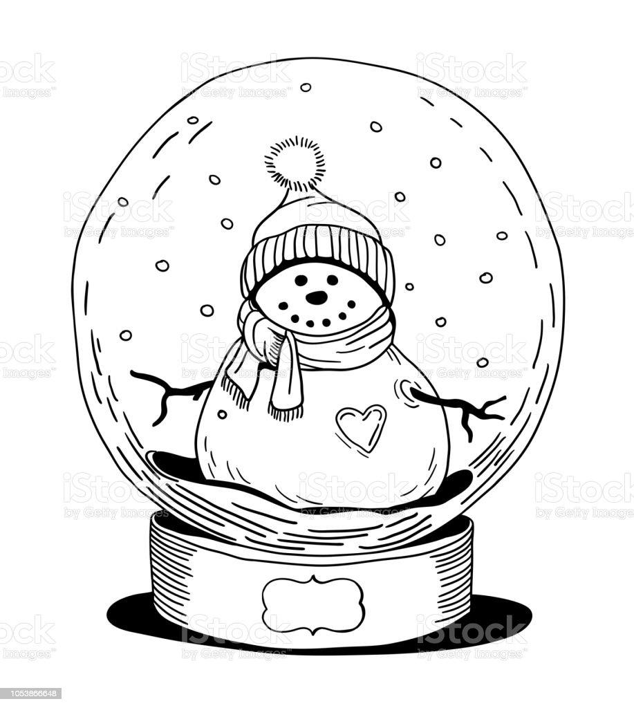 Vektorillustration Von Spielzeug Glas Schneekugel Mit Schneemann Stock  Vektor Art und mehr Bilder von Comic - Kunstwerk