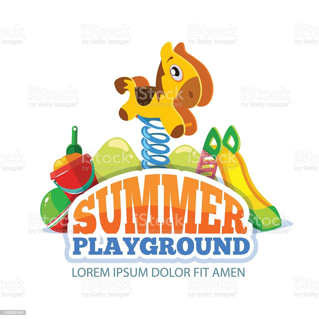 Vector illustration of toys and children hills on playground vector art illustration