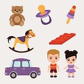 Vector illustration of toys set