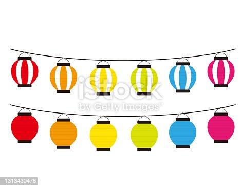 istock Vector illustration of traditional Japanese lanterns. paper lantern . 1313430478