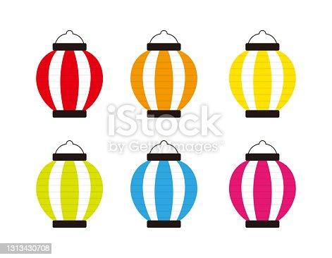 istock Vector illustration of traditional Japanese lanterns. paper lantern . 1313430708