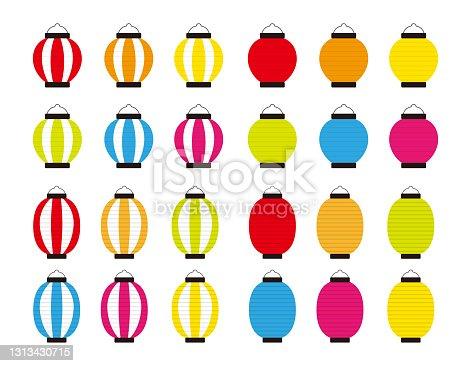istock Vector illustration of traditional Japanese lanterns. paper lantern . 1313430715
