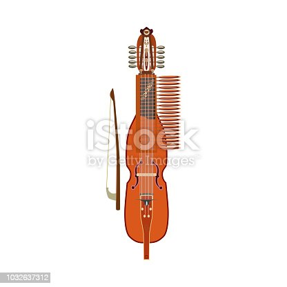 Vector illustration of traditional swedish nyckelharpa, isolated on white background, flat style.