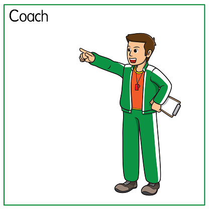 Vector illustration of trainer coach isolated on white background. Jobs and occupations concept. Cartoon characters. Education and school kids coloring page, printable, activity, worksheet, flashcard.