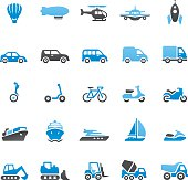 Vector illustration of transport and vehicle icons