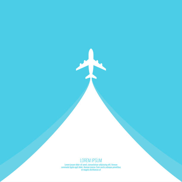 Vector illustration of travel concept. Plane passenger airliner takes off into the sky. Vector illustration of travel concept. airport backgrounds stock illustrations