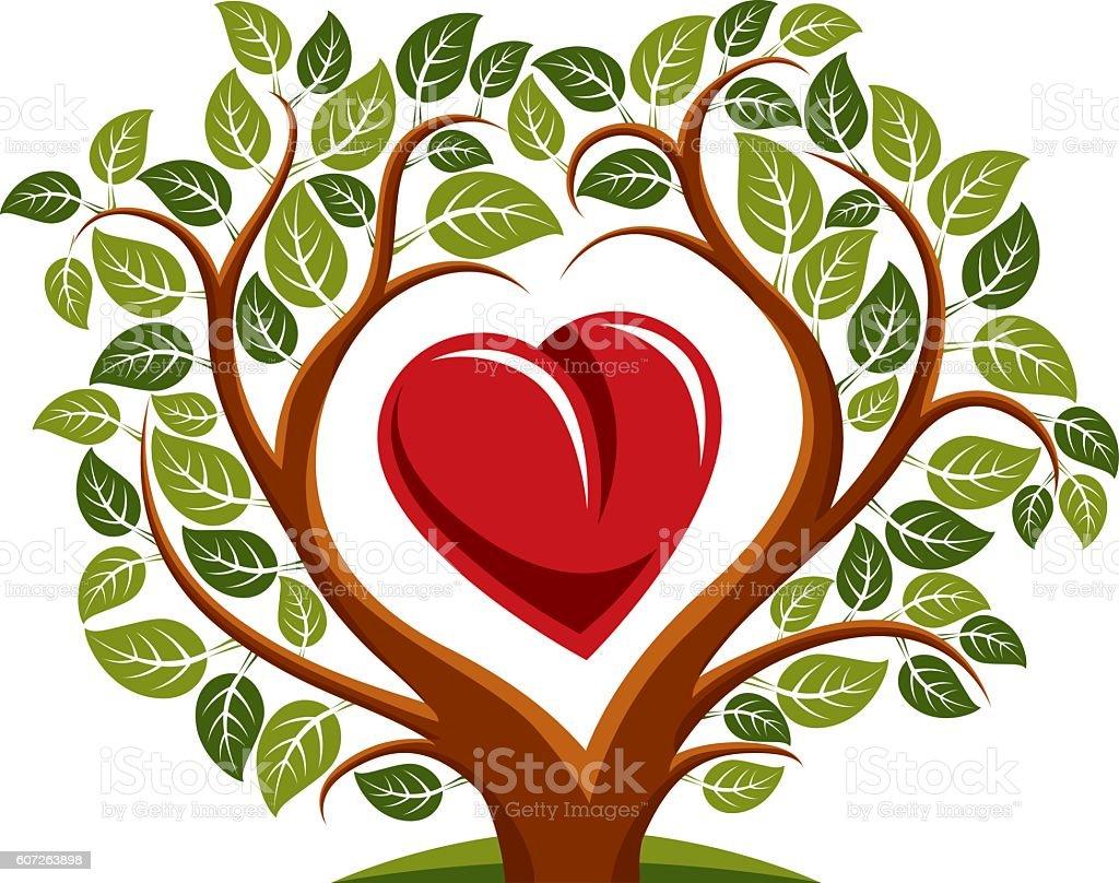 Ilustración vectorial de árbol con sucursales en forma de corazón - ilustración de arte vectorial