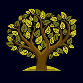 Vector illustration of tree with green decorative leaves
